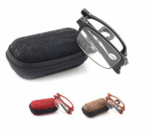 Shoplifemore Gafas de lectura plegables, cristal de lectura flexible con funda (+400, rojo)