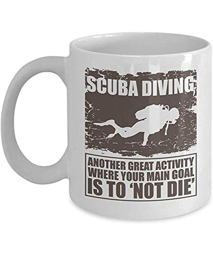 Otra gran actividad donde tu objetivo principal es no morir Divertido buceo con la taza de silueta de buzo