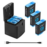 ZTHY 3-Pack Hero 9 Replacement Batteries and 3-Channel USB Quick Charger with Type-C Cord Compatible with GoPro Hero 9 Black AHDBT-901 (Fully Compatible with GoPro 9 Battery and Charger)
