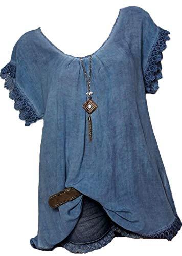 Rolanscia Damen Elegante Blusen Tuniken Hemd Bluse Sommer Blusenshirt Festliche Shirts Kurzarm Leichte Zurück Hohl Freizeit Lose Blau 5XL