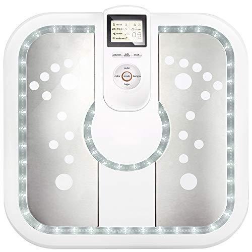 GRIDINLUX. Masajeador de Pies por Microimpulsos. LED, Audioguía y Mando, 16 Niveles de Intensidad, 6 Tipos de Masaje, Función Calor, Infrarrojos