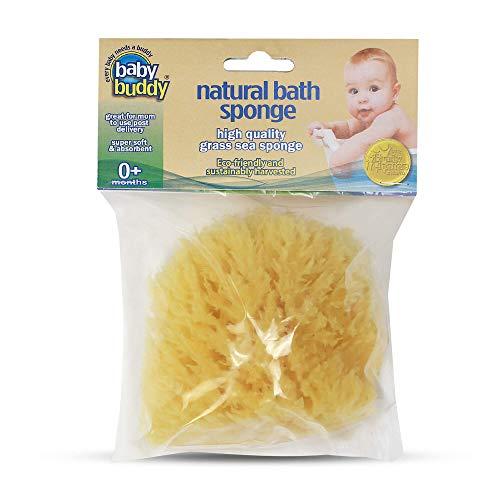 "Baby Buddy Natural Baby Bath Sponge 4"" Soft Grass Sea Sponge Soft on Baby's Tender Skin, Biodegradable, Hypoallergenic, Absorbent Natural Sea Sponge, 1 Pack"
