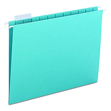 Smead Hanging File Folder, 1/5-Cut Adjustable Tab, Letter Size, Aqua, 25 per Box (64058)