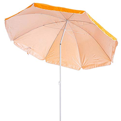 H HANSEL HOME Sombrilla de Playa, Acero, Inclinable, Protección Solar UPF+50 (Naranja, Ø 180 CM)