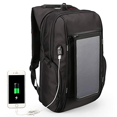Multifunction Solar Powered Laptop Backpack, Waterproof Luminous Reflective Strip Backpack With Solar Panel, Travelling Bagpacks With USB Charger Port, Black