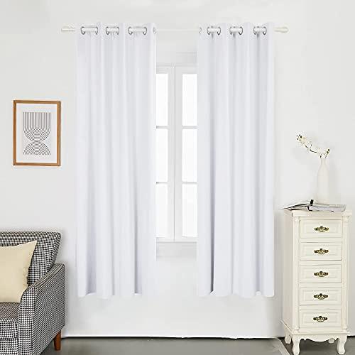 Deconovo Cortina para Habitación Matrimonio Estilo Moderno Elegante con Ojales 2 Piezas 132x160cm Blanco Grisáceo