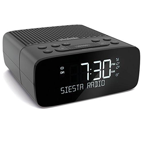 Pure Siesta S2 Radiowecker (Digitalradio mit DAB/DAB+ Digital- und UKW, USB-Ladeanschluss, Weckfunktion, Sleep-Timer, CrystalVue Display, 10 Senderspeicherplätze, AUX), Graphite