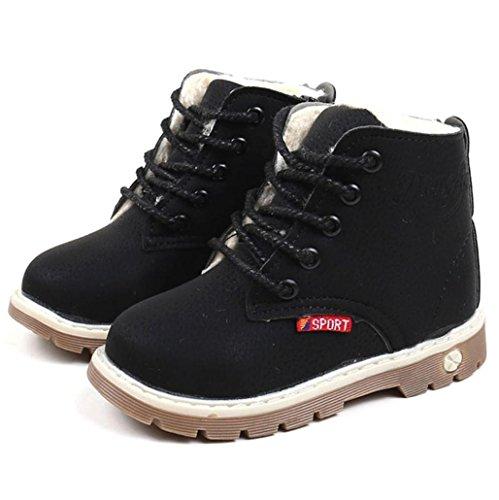 Baby Knöchelhohe Stiefel Mädchen Jungen Mingfa Fasion Winter Schnee Schuhe für 1-6-jährige Kleinkinder Kinder, Weiche Schnürschuhe Martin Sneaker Boots Age:2.5-3T schwarz 1