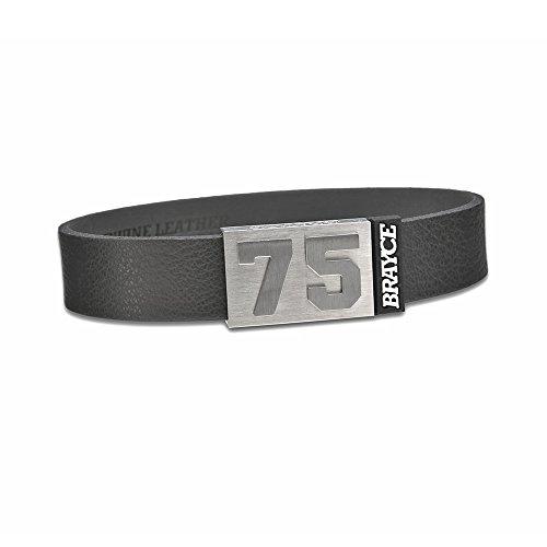 BRAYCE Pulsera de Cuero auténtico (Negro) con tu número del 00 al 99: una Joya para Aficionados y Clubs (fútbol, Balonmano, Baloncesto, Hockey sobre Hielo)