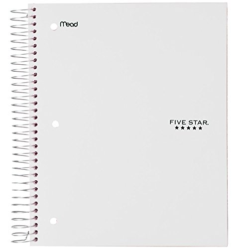 "Five Star Spiral Notebook, 5 Subject, Wide Ruled Paper, 200 Sheets, 10-1/2"" x 8"", White (72470)"