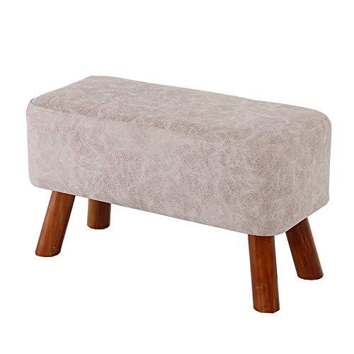 Bureaustoel, gevoerde voetenbankje, zitkruk, zacht, comfortabel, ademend, gemakkelijk te reinigen, van massief hout, duurzaam, gewicht bank 120 kg 60CM Lichtgrijs