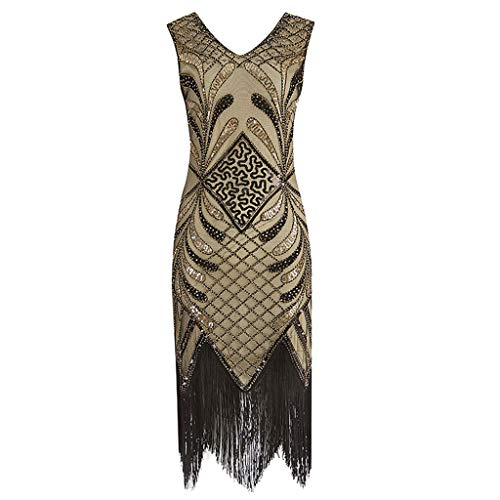 Lenfesh Mujeres 1920s Vestido Fiesta Retro años 20 Vestidos con Cuello en V con Flecos Vestido con Adornos de Lentejuelas