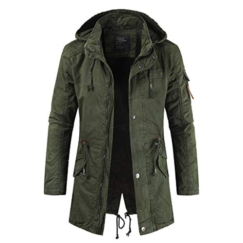 baskuwish Men's Spring Military Full-Zip Removable Hooded Cotton Mid-Long Parka Jacket Coat Green
