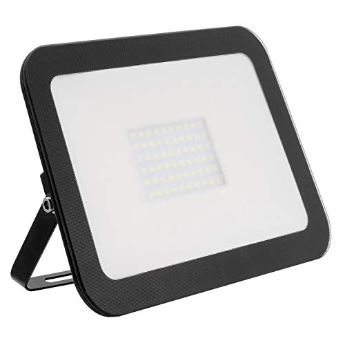 LEDKIA LIGHTING Foco Proyector LED 100W 120lm/W Slim Cristal Negro Blanco Neutro 4000K - 4500K