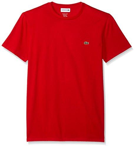 Lacoste Men's Short Sleeve Jersey Pima Regular Fit Crewneck T-Shirt, TH6709-51, Red, Small