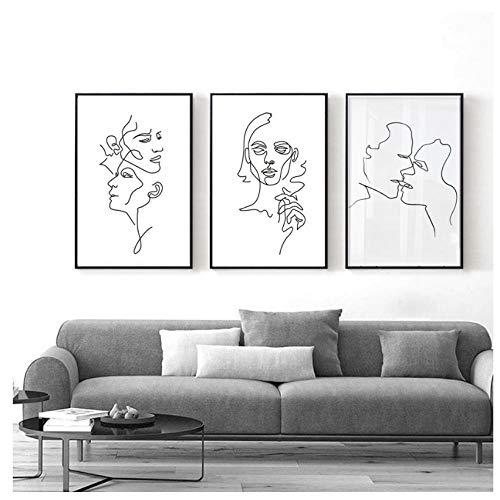 WENJING Abstrakte Liebe Kuss Schwarz-Weiß-Linie Poster Leinwand Druck Gemälde Nordische Wandkunst Bilder Schlafzimmer Home Decor-45X60Cmx3 Pcs Rahmenlos