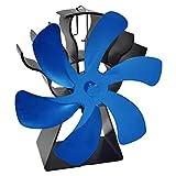 Gazechimp Ventilador de Estufa de 6 aspas Ventilador de Quemador de leña/leña Alimentado por Calor, circulación de Calor ecológica para leña/Quemador de - Azul