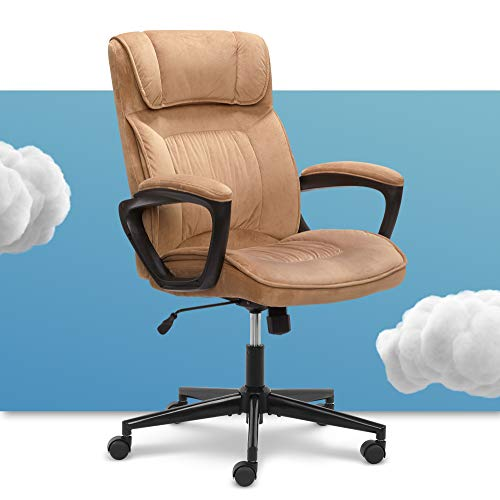 Serta Hannah Microfiber Office Chair with Headrest Pillow, Adjustable Ergonomic with Lumbar Support, Soft Fabric, Beige