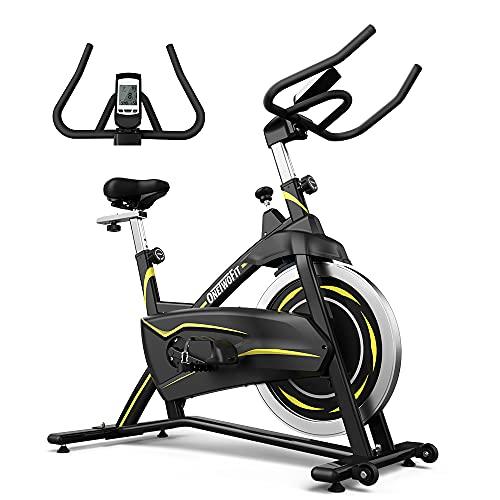 ONETWOFIT Heimtrainer,Fitnessfahrrad,Cardio Spinning Bike mit verstellbarem Lenker und Sattel,LCD Display Multifunktions-Anzeige für Zuhause OT316