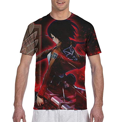 Men's Youth Attack On Titan Mikasa Ackerman Scouting Legion Shirt 3D Double-Sided Full Coverage Printed Crew-Neck Short-Sleeve Tops Tees Soft Fashion Workout Fitness Custom T Shirts for Mens Graphic