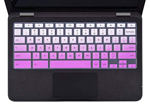 Dell Chromebook 13 3380 Keyboard Cover Skins Compatible with 11.6' Dell Chromebook 11 3120 3180 3181 3189 5190 & Dell 11.6' Chromebook C3181,Dell 11.6 13.3 Chromebook Laptop Cover(Ombre Purple)