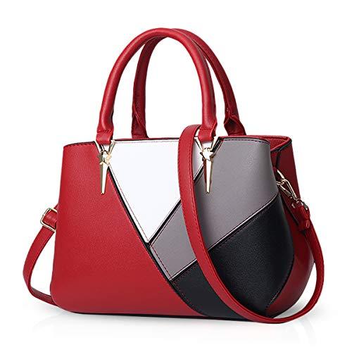 NICOLE & DORIS Handtaschen für Damen taschen Leder Damen Handtasche die neuesten Trends Spleiß Farbe Umhängetaschen rot
