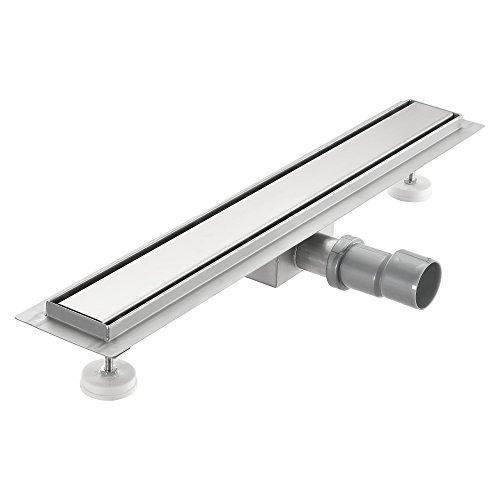 [neu.haus] Duschrinne aus Edelstahl extra flach 60 x 7cm – Boden-Abfluss-Rinne für Dusche bodengleich, Edelstahl-Blende/Abfluss-Sieb in modernem Design