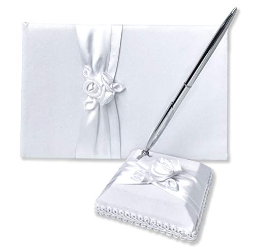 Wedding Guest Book and Pen Set | Elegant Guest Book Wedding Set with Lined Pages for Sign in | White Satin Flower with Classic Touch Guestbook Wedding