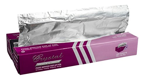 "Crystal by crystalware FPU12102400B Premium Aluminum Foil Pop Up Sheets, 12"" x 10.75"", 200 Sheets"