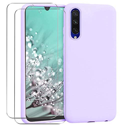 Ingen Coque pour Xiaomi Mi A3, Coque Silicone Liquide avec 2 Pièces Protecteur D'écran Gratuit en Verre Trempé, Housse Souple Coque en Caoutchouc Antichoc Ultra-Mince de Couleur Pure - Violet