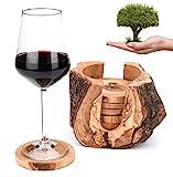 OLIVIEU ~ 6 Luxus Untersetzer Gläser mit Halter aus Olivenholz ~ Natürlich & Nachhaltig (Rustique)