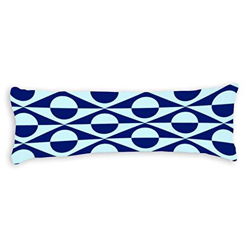Modern Geometric Indigo and Light Blue Ultra Soft Microfiber Long Body Pillow Cover Pillowcases with Hidden Zipper Closure for Kids Adults Pregnant Women, 20' x 54'