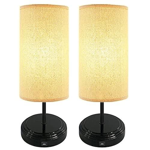 [2-pack] Touch sängbordslampa, Bomcosy dimbar skrivbordslampa, DC5V USB-gränssnitt, svart bas nattdukslampa med tygskugga, 4 LED-lampor, rund bordslampa för sovrum, byrå, vardagsrum