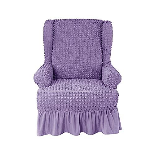 Unmbo Funda De Sillón 1-Trozo Suave Funda Orejero Lavable con Falda Elegante Volante, Alto Elástico Funda De Sillón Orejero Resistente Protector De Muebles-púrpura