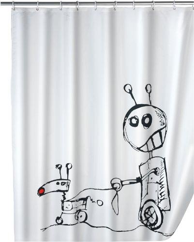 WENKO 19501100 Duschvorhang Robots - waschbar, mit 12 Duschvorhangringen, 100 prozent Polyester, Weiß
