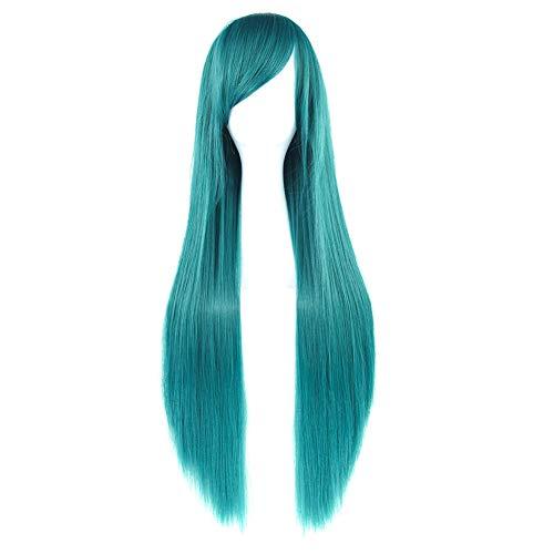 JUNGEN Damen Wig Glattes Haar Bunt Perücke Lange Haarteil für Anime Cosplay