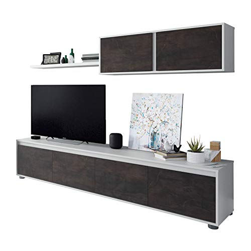 Mueble de Salon Moderno, Modulos Comedor, Modelo Alida, Acabado en Blanco Artik y Oxido, Medidas: 200 cm (Ancho) x 43 cm (Alto) x 41 cm (Fondo)