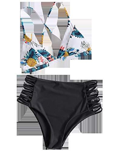 Chiffon strandkleding kwastje strandjurk bikini, dames sexy badpak, split bikini-black_M, badpak strandkleding lingerie