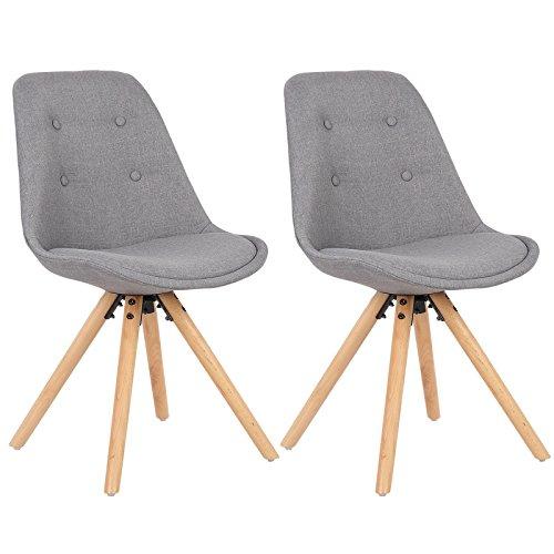 WOLTU BH54gr-2 2 x Esszimmerstühle 2er Set Esszimmerstuhl, Sitzfläche aus Leinen, Design Stuhl, Küchenstuhl, Holzgestell, Grau