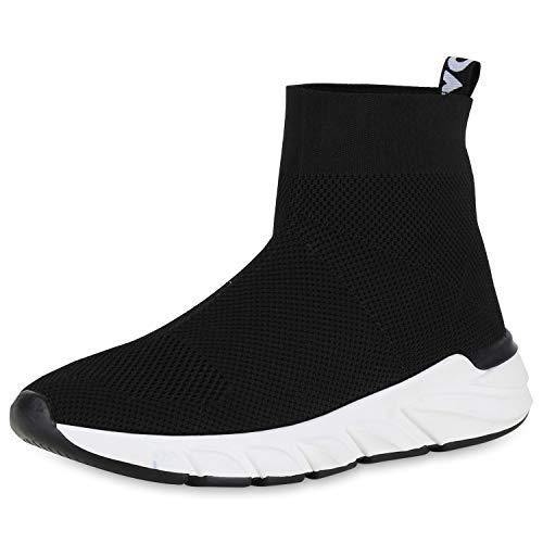 SCARPE VITA Damen Slip On Laufschuhe Sock Sneaker Strick Freizeit Sportschuhe 175023 Schwarz Prints 37