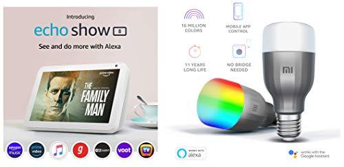 Echo Show 8 (White) bundle with Mi LED bulb