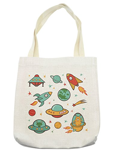 Lunarable Kids Tote Bag, Outer Space Rocket Space Ship UFO Planets Alien Earth Saturn Galaxy, Cloth Linen Reusable Bag for Shopping Groceries Books Beach Travel & More, Cream