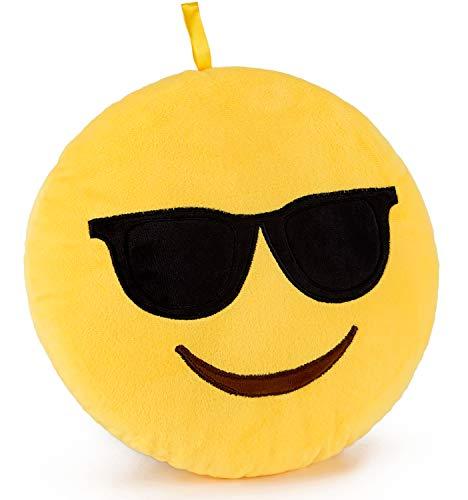 Brubaker Emoji Cojín de peluche–25cm–Gafas de sol