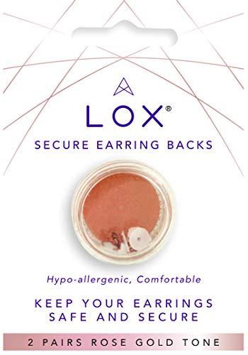 Lox Ohrstecker Verschlüsse für Damen – Earring Stopper Back – Einfache Verwendung, hypoallergen – Ideal für alle Ohrstecker – 2 Paar – Rosegold