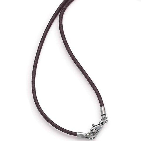 gooix 917-2494 Heren ketting zilver lederen ketting 50 cm bruin