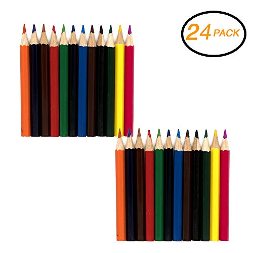 Emraw Super Great Mini Colored Pencil Set Pre-Sharped Coloring pencil for Drawing, Coloring, Sketching, Shading, Detailing & Blending- 12 Per Pack (Pack of 2)