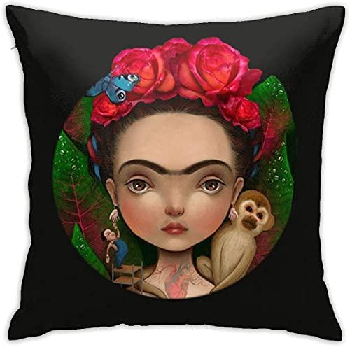 SHAA Frida Kahlo - Funda de almohada decorativa de lino y algodón para decoración del hogar para sofá, coche, dormitorio (60 x 60 cm)