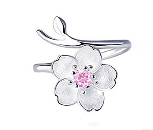 ZXH Neue 925 Sterling Silber Rosa Blume Offenen Ring Eingelegten Zirkon Mode Ring Geburtstagsgeschenk Frau Ring