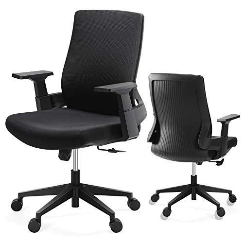 Office Chair, Tribesigns Mesh Chair Desk Chair with Adjustable Lumbar Support Swivel Big and Tall Ergonomic Chair Rolling Task Computer Chair with Thick Seat Cushion, Black