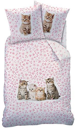 CTI Wende Bettwäsche Katzen Bettwäsche 135 x 200cm 100% Baumwolle